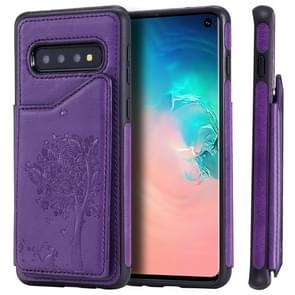 For Galaxy S10 Cat Tree Embossing Pattern Shockproof Protective Case with Card Slots & Photo Frame(Purple)