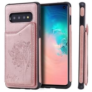 For Galaxy S10 Cat Tree Embossing Pattern Shockproof Protective Case with Card Slots & Photo Frame(Rose Gold)
