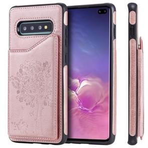 For Galaxy S10+ Cat Tree Embossing Pattern Shockproof Protective Case with Card Slots & Photo Frame(Rose Gold)
