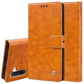 For Galaxy Note 10 Business Style Oil Wax Texture Horizontal Flip Leather Case with Holder & Card Slots & Wallet(Orange-Yellow)