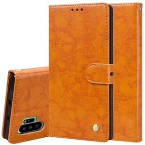 For Galaxy Note 10 Pro / Note 10+ Business Style Oil Wax Texture Horizontal Flip Leather Case with Holder & Card Slots & Wallet(Orange-Yellow)