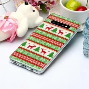 For Galaxy S10+ Coloured Drawing Pattern IMD Workmanship Soft TPU Protective Case(Tribal Elk)