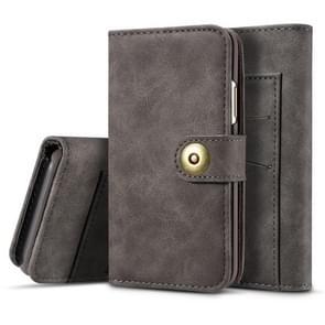 Voor iPhone XI Max 2019 retro magnetische afneembare horizontale Flip leergeval  met kaartsleuven & portemonnee & fotolijstjes (grijs)