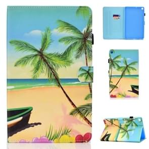 For Galaxy Tab A 8.0 (2019) P200 Colored Drawing Stitching Horizontal Flip Leather Case, with Holder & Card Slots(Sandbeach)