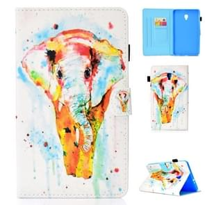 For Galaxy Tab A 8.0 (2017) T380 Colored Drawing Stitching Horizontal Flip Leather Case, with Holder & Card Slots(Watercolor Elephant)