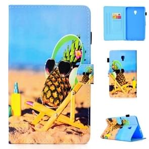 For Galaxy Tab A 8.0 (2017) T380 Colored Drawing Stitching Horizontal Flip Leather Case, with Holder & Card Slots(Pineapple)