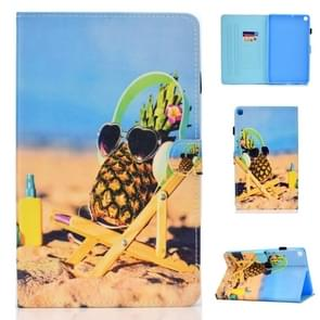For Galaxy Tab A 10.1 (2019) T510 Colored Drawing Stitching Horizontal Flip Leather Case, with Holder & Card Slots(Pineapple)