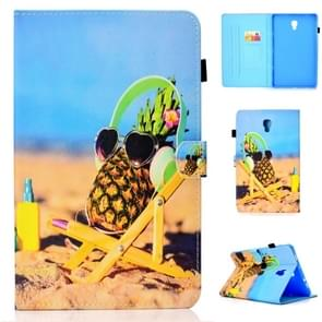 For Galaxy Tab A 10.5 T590 Colored Drawing Stitching Horizontal Flip Leather Case, with Holder & Card Slots(Pineapple)