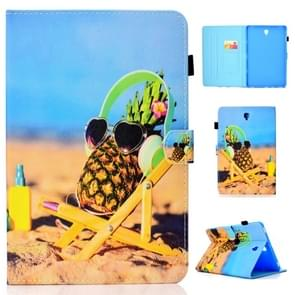 For Galaxy Tab S4 10.5 T830 Colored Drawing Stitching Horizontal Flip Leather Case, with Holder & Card Slots(Pineapple)