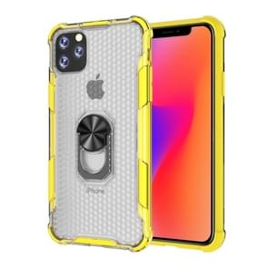 For iPhone 11 Pro Shockproof PC + TPU Protective Case with Ring Holder(Yellow)
