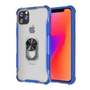 For iPhone 11 Pro Max Shockproof PC + TPU Protective Case with Ring Holder(Blue)