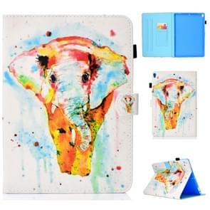 For iPad Pro 10.5 Colored Drawing Stitching Horizontal Flip Leather Case, with Holder & Card Slots(Watercolor Elephant)