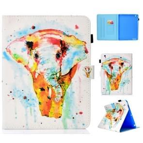 Voor iPad 2/3/4 gekleurde tekening stiksels horizontale Flip lederen draagtas  met houder & kaartsleuven (aquarel olifant)