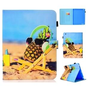 Voor iPad 2/3/4 gekleurde tekening stiksels horizontale Flip lederen draagtas  met houder & kaartsleuven (ananas)