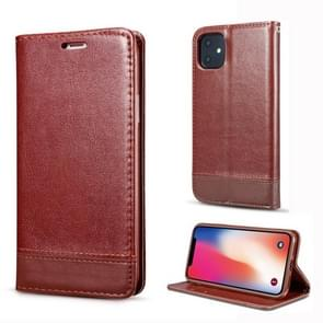 For iPhone 11 Double-sided Absorption Splicing Horizontal Flip Leather Case, with Holder & Card Slots & Lanyard(Brown)