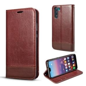 For Galaxy Note10 Double-sided Absorption Splicing Horizontal Flip Leather Case, with Holder & Card Slots & Lanyard(Brown)