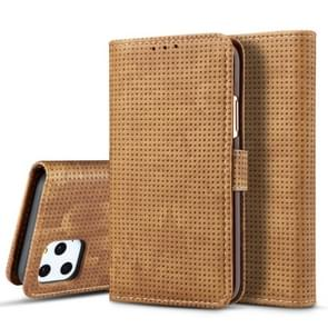 For iPhone 11 Mesh Breathable Horizontal Flip Leather Case, with Card Slot & Holder & Wallet & Photo Frame(Brown)