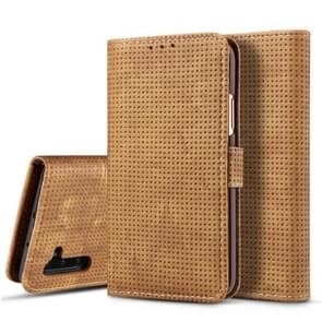 For Galaxy Note10 Mesh Breathable Horizontal Flip Leather Case, with Card Slot & Holder & Wallet & Photo Frame(Brown)
