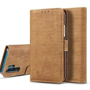 For Galaxy Note10+ Mesh Breathable Horizontal Flip Leather Case, with Card Slot & Holder & Wallet & Photo Frame(Brown)