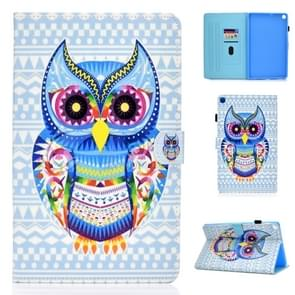 For Galaxy Tab A 10.1 (2019) T510 Colored Drawing Stitching Horizontal Flip Leather Case, with Holder & Card Slots(Colored Owl)