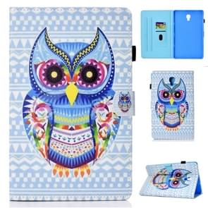 For Galaxy Tab A 10.5 T590 Colored Drawing Stitching Horizontal Flip Leather Case, with Holder & Card Slots(Colored Owl)