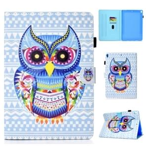 For iPad Pro 10.5 Colored Drawing Stitching Horizontal Flip Leather Case, with Holder & Card Slots(Colored Owl)