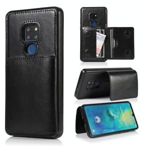 For Huawei Mate 20 Shockproof PU + TPU Protective Case with Card Slots & Holder(Black)