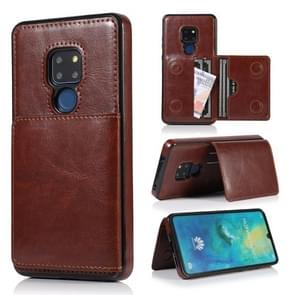 For Huawei Mate 20 Shockproof PU + TPU Protective Case with Card Slots & Holder(Brown)