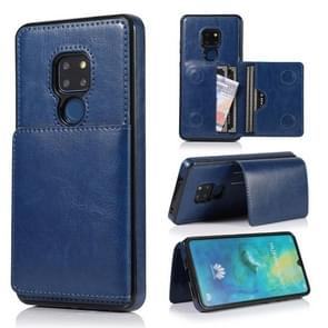 For Huawei Mate 20 Shockproof PU + TPU Protective Case with Card Slots & Holder(Blue)