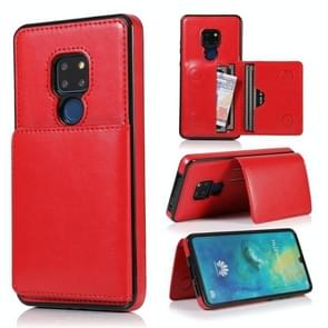 For Huawei Mate 20 Shockproof PU + TPU Protective Case with Card Slots & Holder(Red)