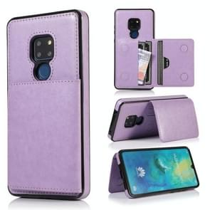 For Huawei Mate 20 Shockproof PU + TPU Protective Case with Card Slots & Holder(Purple)