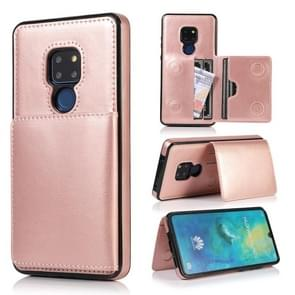 For Huawei Mate 20 Shockproof PU + TPU Protective Case with Card Slots & Holder(Rose Gold)