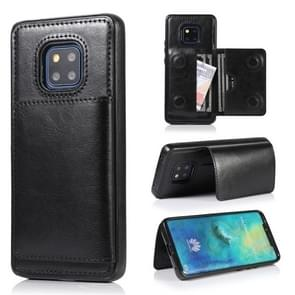 For Huawei Mate 20 Pro Shockproof PU + TPU Protective Case with Card Slots & Holder(Black)