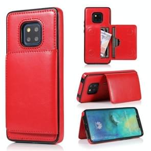 For Huawei Mate 20 Pro Shockproof PU + TPU Protective Case with Card Slots & Holder(Red)
