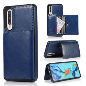 For Huawei P30 Shockproof PU + TPU Protective Case with Card Slots & Holder(Blue)