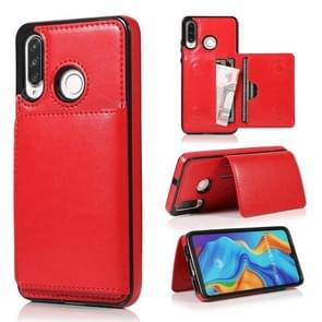 For Huawei P30 Lite Shockproof PU + TPU Protective Case with Card Slots & Holder(Red)