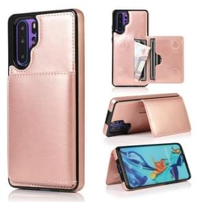 For Huawei P30 Pro Shockproof PU + TPU Protective Case with Card Slots & Holder(Rose Gold)