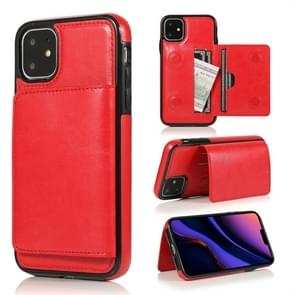 For iPhone 11 Pro Shockproof PU + TPU Protective Case with Card Slots & Holder(Red)