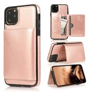For iPhone 11 Pro Max Shockproof PU + TPU Protective Case with Card Slots & Holder(Rose Gold)