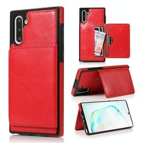 For Galaxy Note 10 Shockproof PU + TPU Protective Case with Card Slots & Holder(Red)