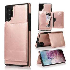 For Galaxy Note 10+ Shockproof PU + TPU Protective Case with Card Slots & Holder(Rose Gold)