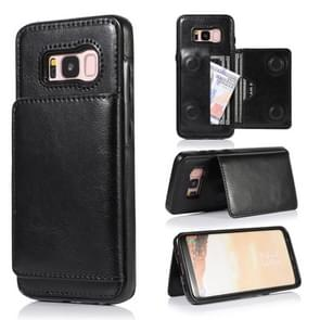 For Galaxy S8 Shockproof PU + TPU Protective Case with Card Slots & Holder(Black)