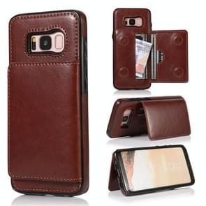 For Galaxy S8 Shockproof PU + TPU Protective Case with Card Slots & Holder(Brown)