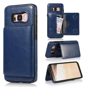For Galaxy S8 Shockproof PU + TPU Protective Case with Card Slots & Holder(Blue)