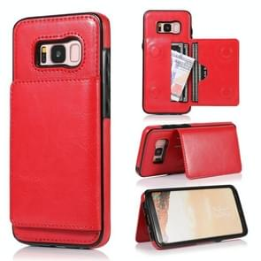 For Galaxy S8 Shockproof PU + TPU Protective Case with Card Slots & Holder(Red)