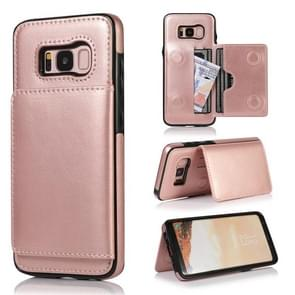 For Galaxy S8 Shockproof PU + TPU Protective Case with Card Slots & Holder(Rose Gold)