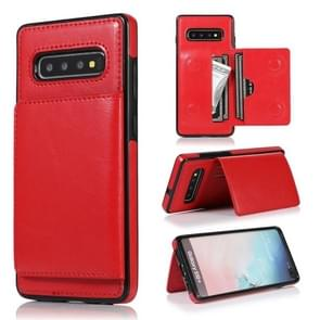 For Galaxy S10 Shockproof PU + TPU Protective Case with Card Slots & Holder(Red)