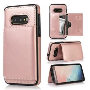 For Galaxy S10e Shockproof PU + TPU Protective Case with Card Slots & Holder(Rose Gold)