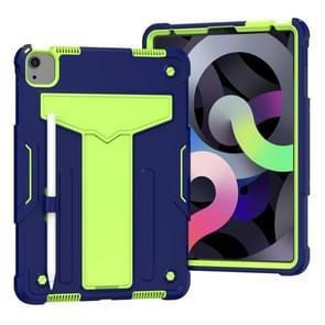 Voor iPad Air (2020) 10.9 / iPad Pro 11 T-vormige Bracket Contrast Color Shockproof PC + Siliconen Beschermhoes (Navy+Green)