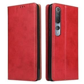 Voor Xiaomi Mi 10 Pro Fierre Shann PU Genuine Leather Texture Horizontale Flip Lederen Case met Holder & Card Slots & Wallet(Red)